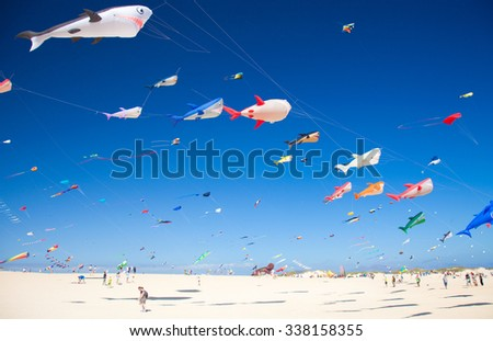 FUERTEVENTURA, SPAIN - NOVEMBER 7: Viewers watch from the ground as colorful kites fill the sky at 28th International Kite Festival, November 7, 2015  in Dunes of Corralejo, Fuerteventura, Spain - stock photo