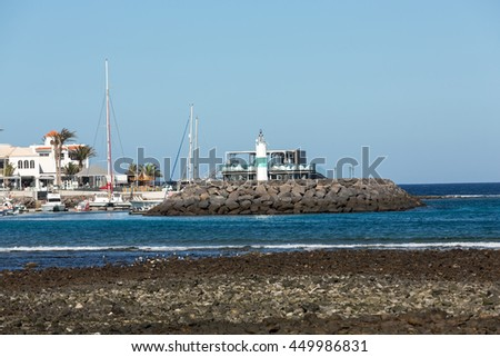 FUERTEVENTURA, SPAIN - SEPTEMBER 6, 2015: Marina in Caleta de Fuste, Fuerteventura, Canary Island,  Spain