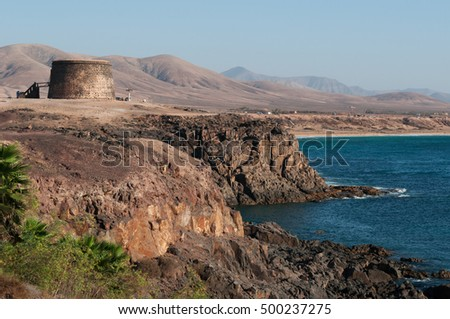 Fuerteventura: view of El Toston Castle in the fishermen village of El Cotillo on August 29, 2016. The Toston Castle is a watchtower built for defense in the 18th century near the port of El Cotillo
