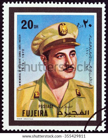 FUJAIRAH EMIRATE - CIRCA 1970: A stamp printed in United Arab Emirates shows President of Egypt Gamal Abdel Nasser 1918-1970, circa 1970. - stock photo