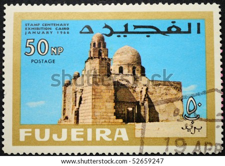 FUJEIRA - CIRCA 1966: A stamp printed in FUJEIRA shows the Egyptian structures, circa 1966.