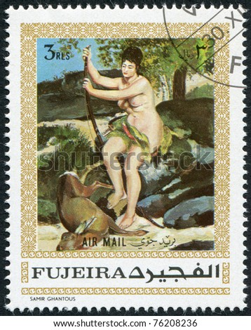 """FUJEIRA - CIRCA 1970: A stamp printed in the Fujeira, shows a painting by Renoir, """"Diana"""", circa 1970 - stock photo"""