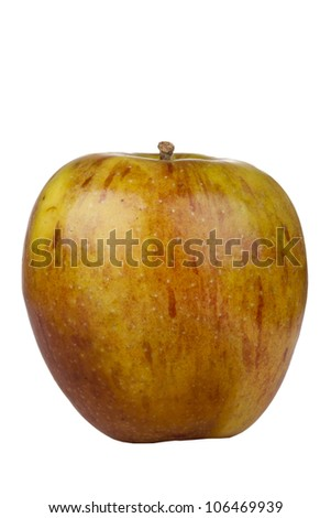 Fuji apple beginning to decay isolated on a white background. - stock photo