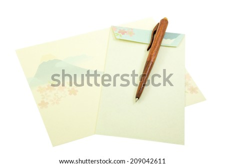 Fuji Mount pattern on letter paper and envelope with wood pen on white background - stock photo