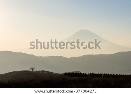 Fuji mountain before dusk