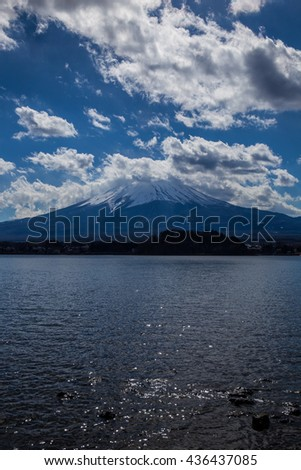 Fuji mountain in cloudy day