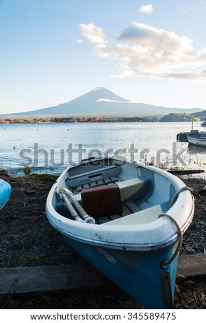 Fuji Mountain on Lake Kawaguchi before the autumn. - stock photo