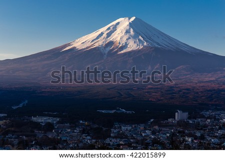 Fuji mountain view and the city. - stock photo