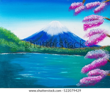 fuji mountain water colors painting