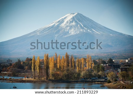 Fuji Mountain with Autumn leaf