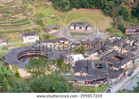 FUJIAN, CHINA - Jan 02 2016: Taxia Village at Tianloukeng Tulou Scenic Spots in Fujian Tulou(Nanjing) Scenic Area(UNESCO World Heritage). a famous historic site in Nanjing, Fujian, China.