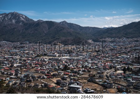 Fujikawa Town view from Red pagoda in japan - stock photo