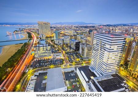 Fukuoka, Japan city skyline at the Momochihama District. - stock photo