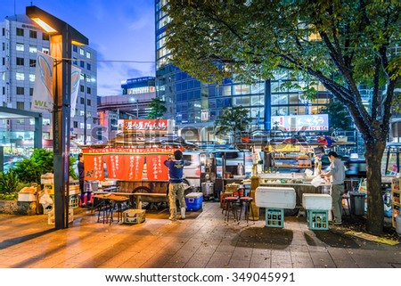 FUKUOKA, JAPAN - DEC 8: Tenjin Zone of Fukuoka in Fukuoka, Japan on December 8, 2015. Japan's 6th largest city ranked the 12th of the world's most livable cities in the magazine Monocle in 2013 - stock photo