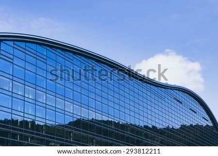 Fukuoka, Japan - February 20, 2012: Kyushu National Museum in Dazaifu Modern Architecture details Glass Facade - stock photo