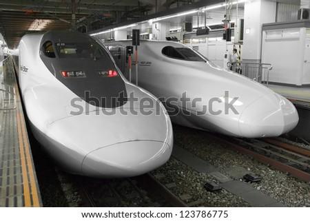 FUKUOKA, JAPAN - JUNE 2, 2012: Shinkansen bullet train at Fukuoka station in June 2, 2012 Fukuoka,Japan.Shinkansen is world's busiest high-speed railway operated by four Japan Railways group companies - stock photo