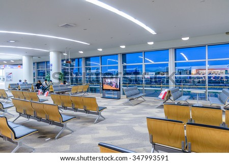 FUKUOKA, JAPAN - NOV 30, 2015 - Fukuoka Airport is the fourth busiest passenger airport in Japan. In 2012, it was used by 17.4 million people and there were 155,900 takeoffs and landings.
