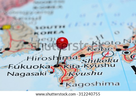 Fukuoka pinned on a map of Asia  - stock photo