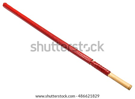 fukuro-shinai in red leather bag - Japanese bamboo sword used for training in martial art kendo, isolated on white background