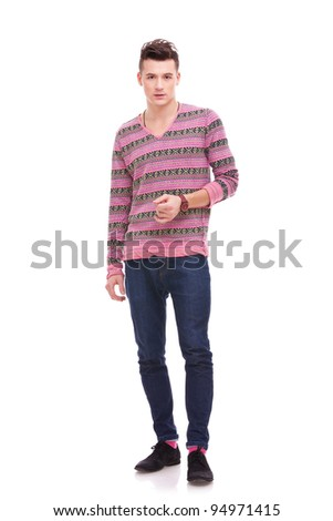 ful body picture of a casual handsome man on white background - stock photo