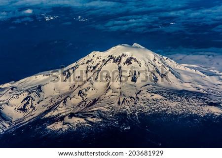 Full Aerial View of Mount Adams, Washington, May 2014. - stock photo
