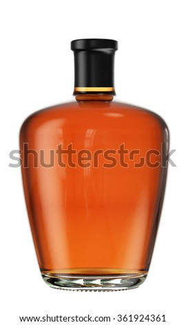 Full alcohol tincture, balsam, whiskey, cognac, brandy glass bottle isolated on white background. 3D Mock up for you design. - stock photo