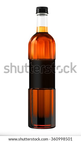 Full alcohol whiskey, cognac, brandy bottle isolated on white background. 3D Mock up for you design.