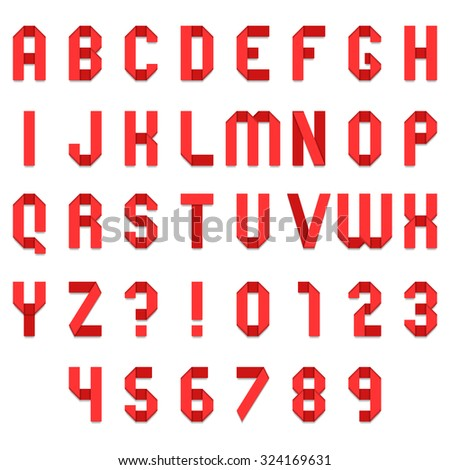 Full alphabet of red folded paper font - stock photo