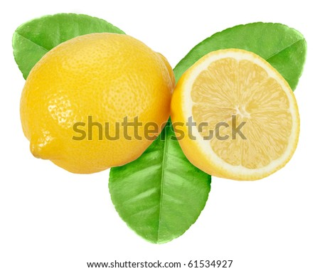 Full and cross section of yellow lemon with green leaf. Isolated on white background. Close-up. Studio photography.