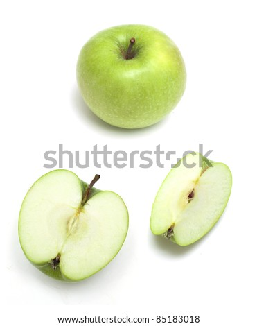 full and cut green apple  on white background - stock photo