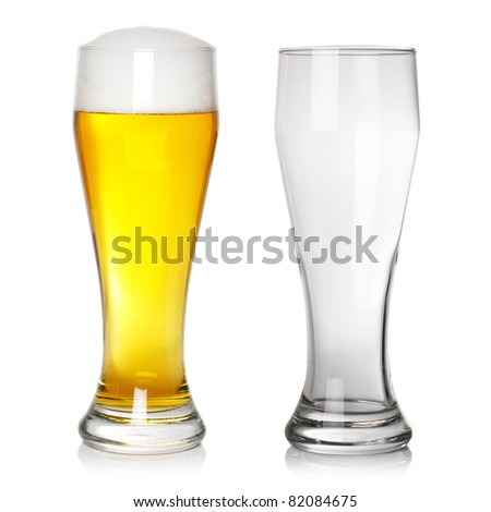 full and empty beer glass - stock photo