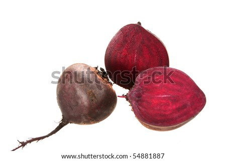 Full and two cross of beet-root. Isolated on white background. Close-up. Studio photography.