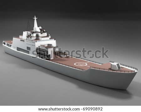 Full armed warship - stock photo