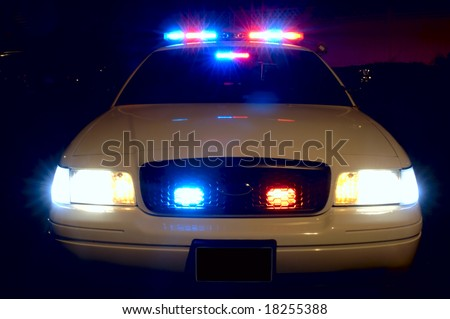 Full array of police car lights. - stock photo
