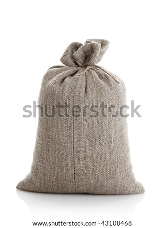 Full bag with a grain of the wheat on a white background - stock photo