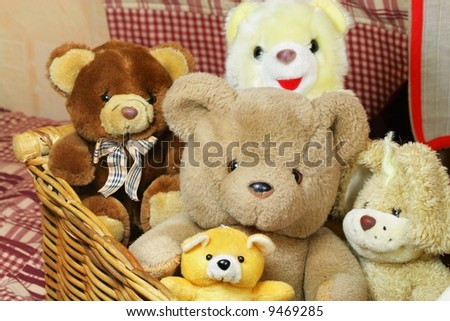 Full basket of teddy bears - stock photo