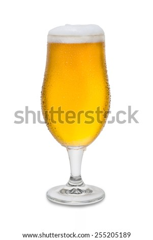 Full Belgium Ale with Condensation and Foam Head #4 - stock photo