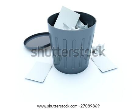 Full black bin icon isolated on white - stock photo