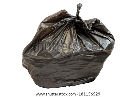 full  black garbage plastic bag isolated over white background - stock photo