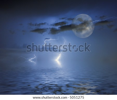 full blue moon between clouds and thunderbolts reflected from wavy  water - stock photo