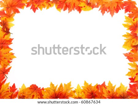 Full Boarder Created With Fall Leaves - stock photo