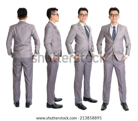 Full body Asian businessman in different angle, front, side and rear view. Standing isolated on white background. Asian male model. - stock photo