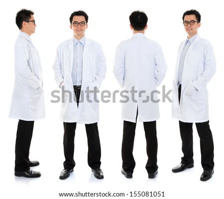 Full body Asian male beauty therapist in beautician uniform with confident smile, standing in different angle, front, back and side, isolated on white background. - stock photo