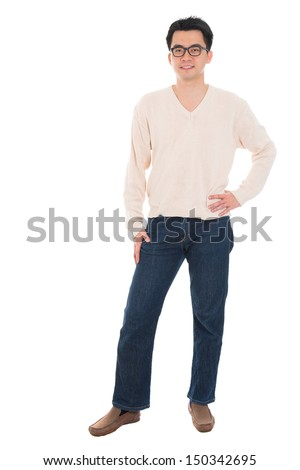 Full body Asian man in casual wear standing isolated on white background. Asian male model. - stock photo
