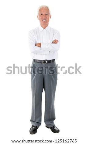 Full body Asian senior businessman standing isolated white background - stock photo