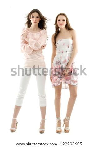 full body Beautiful fashionable woman in modern dress posing - stock photo