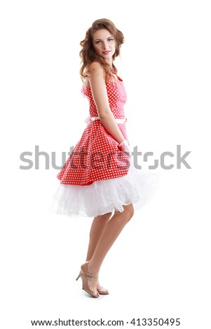 full body beautiful retro woman in vintage dress isolated