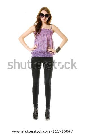 Full body beautiful stylish girl posing in studio - stock photo