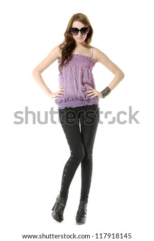 Full body beautiful stylish girl posing in studio - stock photo