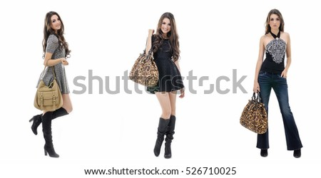 Full body beautiful three girl in jeans,gray dress ,boots with bag posing in studio